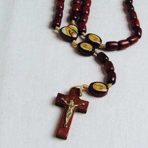 VTG Wood Bead Catholic Christian Jewelry Rosary